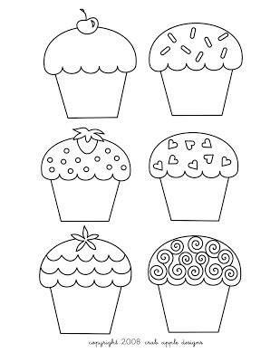 home  crab apple designs freebie cupcake coloring page embroidery pattern