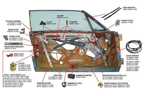 67 Mustang Coupe Window Diagram by Window Stop Door Window Guide Passenger Side Used