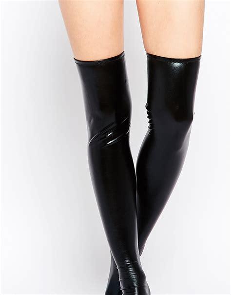 Leg avenue Wet Look Thigh High Tights in Black Lyst
