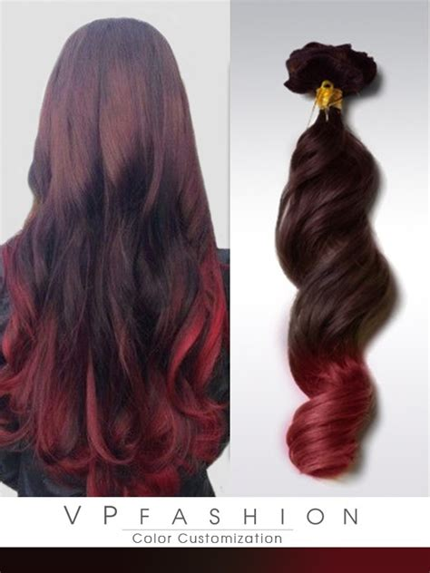 ombre braun rot schwarzbraun rot ombre clip in extensions r021 r021