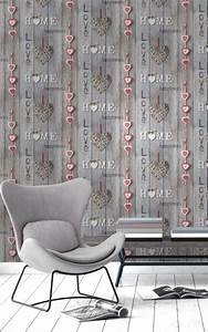 Fine Decor Love Your Home Red Driftwood Wallpaper FD41718