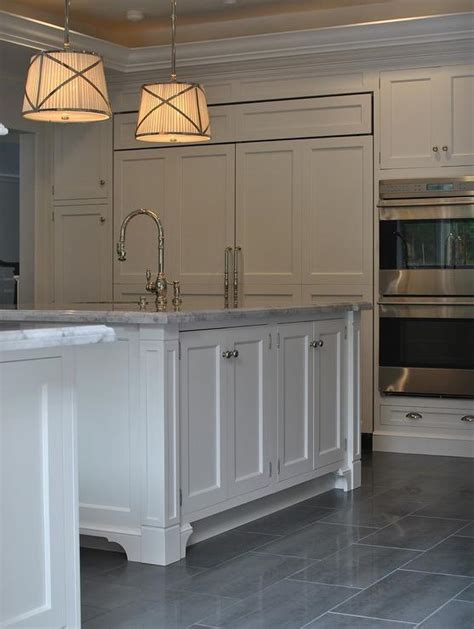 kitchen  gray staggered tile floor transitional