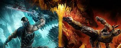 Monitor Dual Fire Dragon Gaming Cold Wallpapers