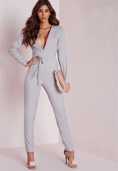 grey jumpsuit womens missguided plunge tapered leg belted jumpsuit grey in gray