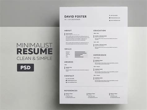Resume Template Minimalist by Minimalist Resume Cv David Graphic