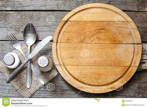 cuisines vintage cutlery and vintage empty cutting board food background