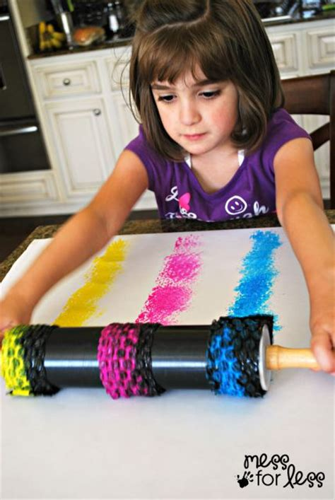 Kids Painting with Rolling Pins Mess for Less