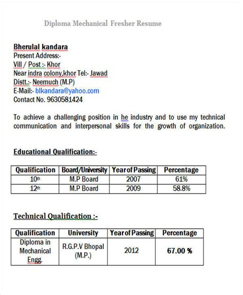 Diploma Mechanical Engineering Resume Format For Fresher by 43 Professional Fresher Resumes