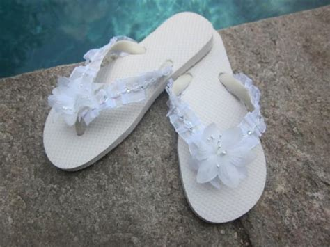Wedding Flip Flops/wedges For Bride.white Flip Flops.beach