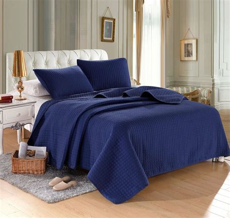 Navy Blue Coverlet by Navy Blue Solid Color Hypoallergenic Quilt Coverlet