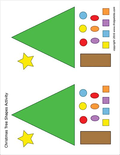 christmas tree shapes activity template  printable