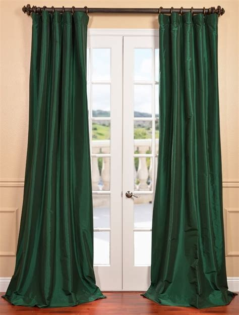 emerald green faux silk taffeta curtain contemporary