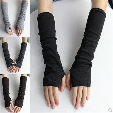 Ladies Womens Winter Warm Knitted Soft Arm Warm Long