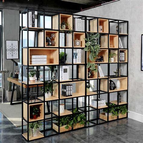 partisi ruangan besi kombinasi kayu  rak buku