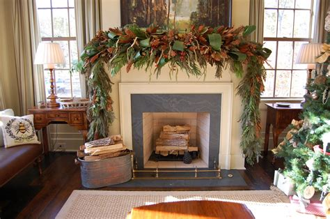 Red Porch Austin by Christmas Mantel Decorated With Natural Greenery In