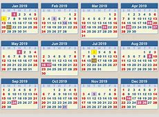 CALENDAR 2019 School terms and holidays South Africa