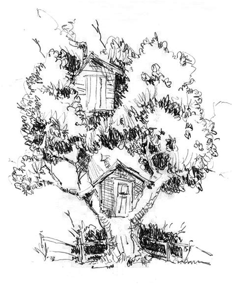 One Tree Two Treehouse Coloring Page