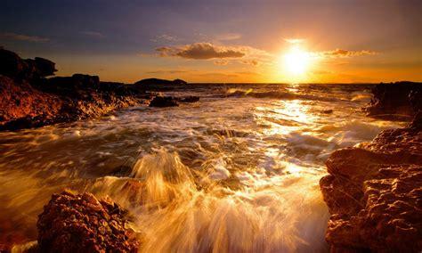 sunset sea coast rock band orange sky hd desktop wallpaper