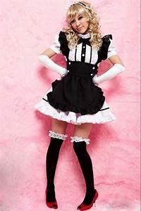Black And White Cute Girls Maid Halloween Costume - PINK QUEEN