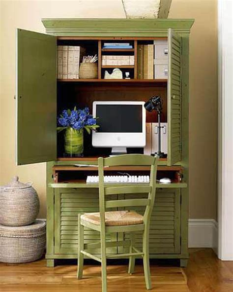 bureau dans armoire green cupboard home office design ideas for small spaces
