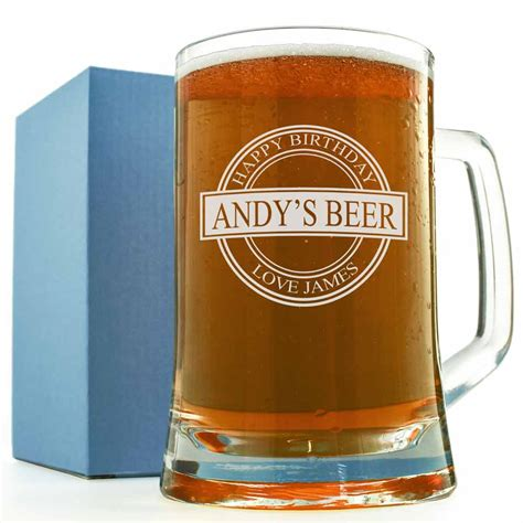personalised glass tankard birthday badge
