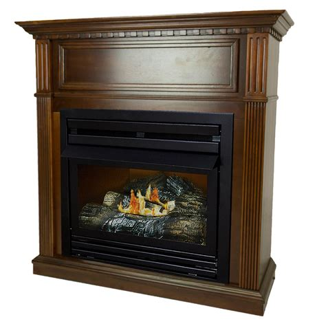 gas fireplace mantel gets pleasant hearth 27 500 btu 42 in convertible ventless