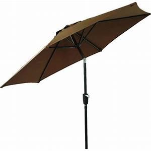 7 5 U0026 39  Brown Aluminum Patio Umbrella  Crank Lift