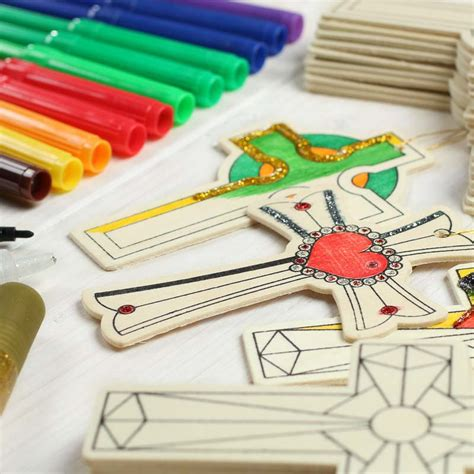 wood cutout cross ornaments kids craft kit activity