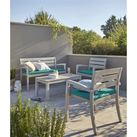 Salon de jardin Portofino bois naturel 1 table+ 2 fauteuils + 1 banc | Leroy Merlin
