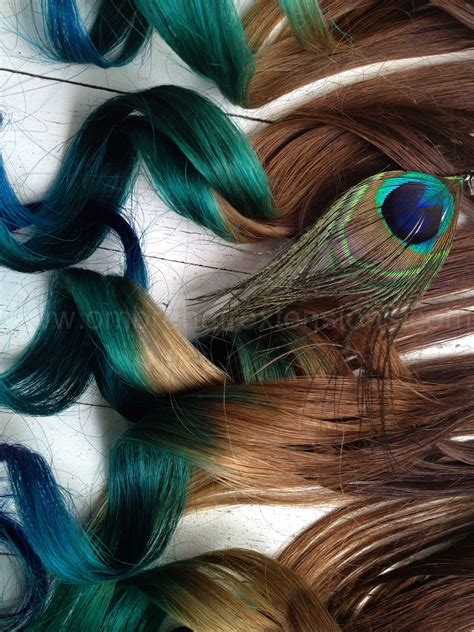 Peacock Feather Hair Extensionspeacock Ombrepeacock