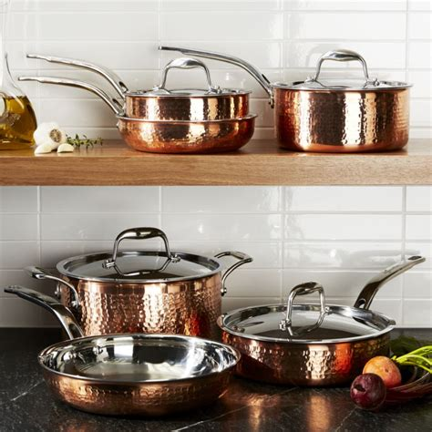 lagostina copper cookware hammered piece martellata pans crate pots sets kitchen stainless barrel pot crateandbarrel steel ply tri gas market