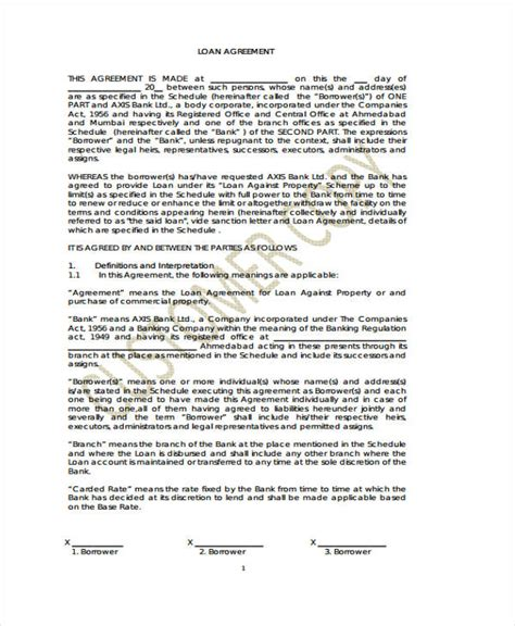 loan agreement form    ms word