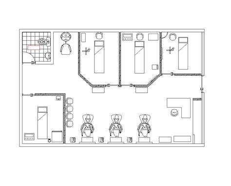 2D CAD Beauty Salon - CADBlocksfree -CAD blocks free