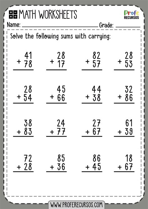 digit addition  carrying math worksheets