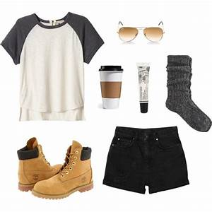 U0026quot;College Outfit #2u0026quot; by ohlookitsdonte on Polyvore Basic Tee high waist black shorts and ...