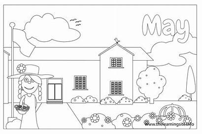 Outline Coloring Month Flashcard Months Flashcards Learning