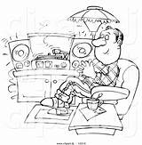 Coloring Cartoon His Records Clipart Outlined Relaxing Listening Bannykh Alex sketch template