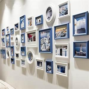 Ensemble Cadre Photo : nouveau 32 pcs ensemble noir en bois cadre photo mur d cor bleu collage cadres photo pour image ~ Teatrodelosmanantiales.com Idées de Décoration