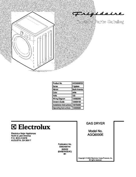frigidaire agq6000es2 dryer parts and accessories at partswarehouse