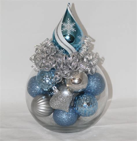 Christmas Centerpiece Ice Blue And Silver Holiday Decoration