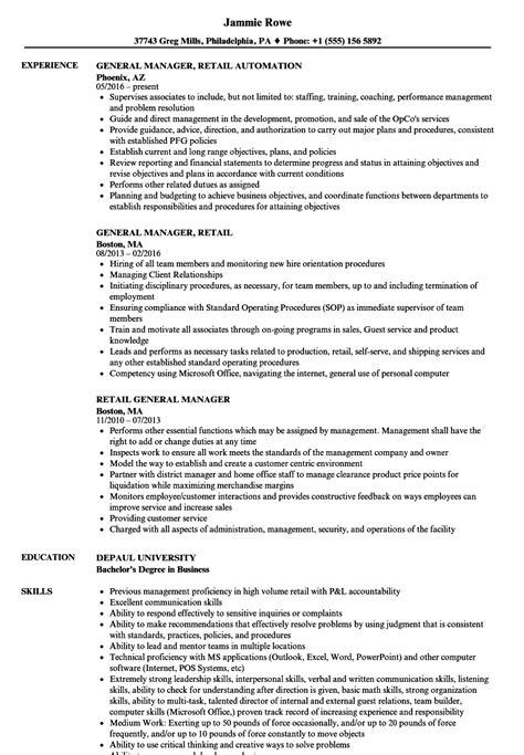 retail general manager resume samples velvet jobs