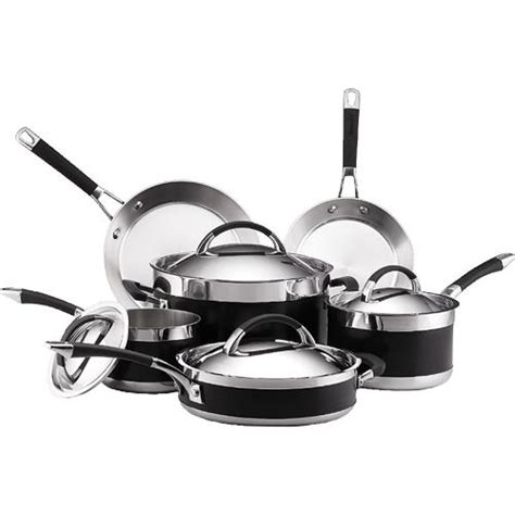 cookware anolon piece clad ultra steel stainless safe sets dishwasher aluminum anodized hard nonstick glass pan core overstock stove induction