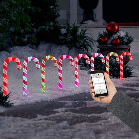 lightshow applights led candy cane pathway light stakes