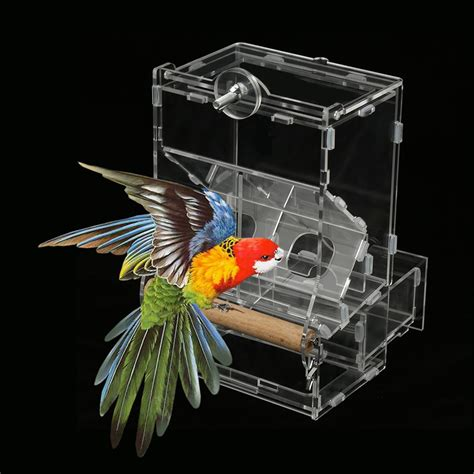 Parrot Feeder by Acrylic Bird Feeder No Mess Automatic Seed Feeder Cage