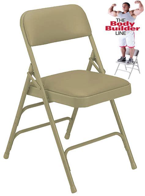 brace vinyl padded steel folding chair 300 lb