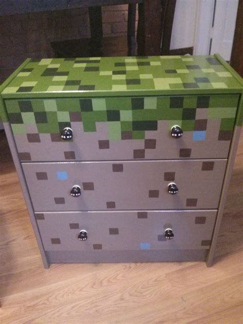 Minecraft Bedroom Drawers by Painted Minecraft 3 Drawer Chest By Artsyfartsi On