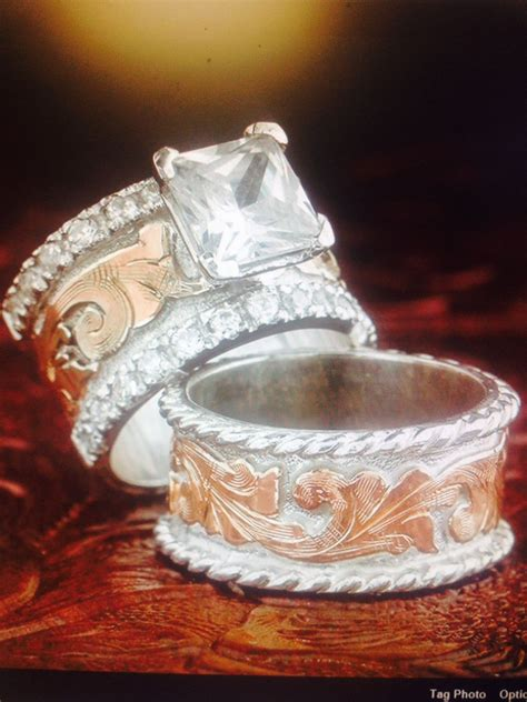 western wedding set fanning jewelry wedding rings in