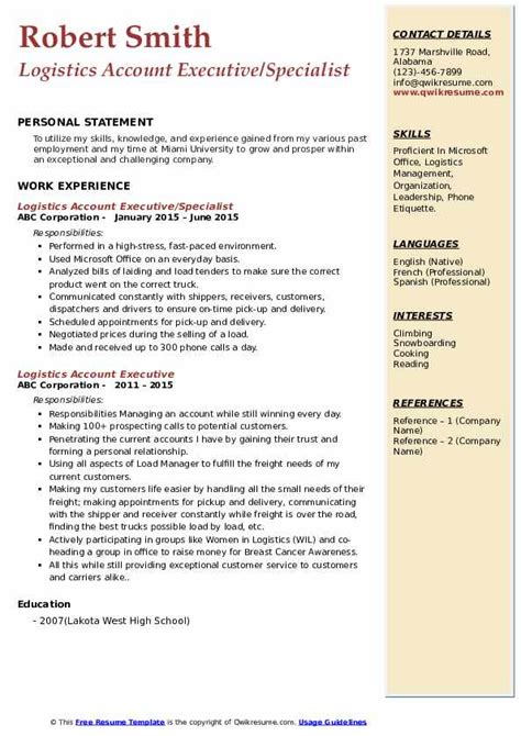 logistics account executive resume sles qwikresume