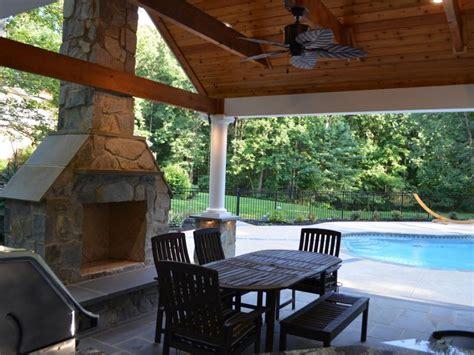 pool house outdoor kitchen fireplace greensward llc