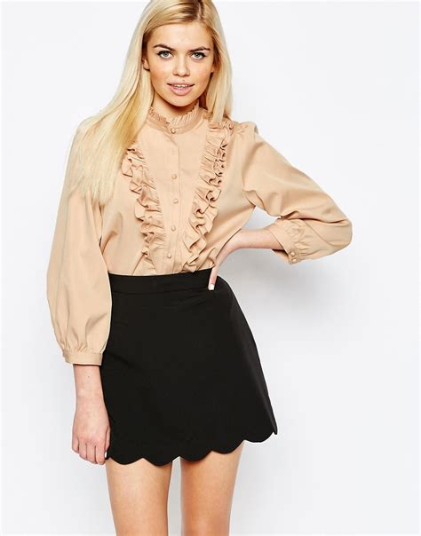 ruffled blouses lyst ister camelia ruffle blouse in